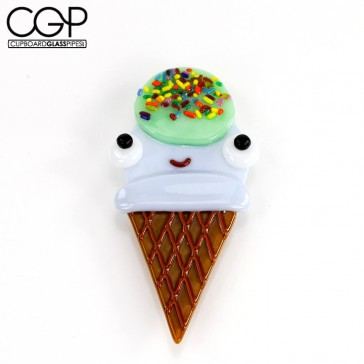 Jamie Burress - Fused Glass Smiling Double-Scoop Ice Cream Cone with Sprinkles - Magnet