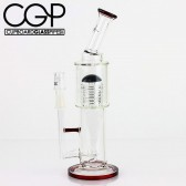 Pulse Glass - Gridded Tongue Brain Bent Neck Concentrate Rig 14mm