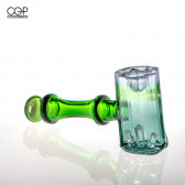 Digger Glass - Tourmaline Cluster Hammer Pipe, Watermelon (Emerald Stem)
