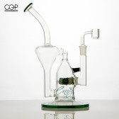 "Envy Glass - 10"" Green ""Pop Rocks"" Recycler"