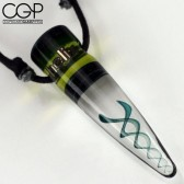 Helix Glass - Blue DNA Double Helix Cone Pendant