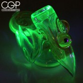 MNP - Illuminati UV-Reactive Wig Wag Dry Pipe with Encased Opal Accent