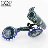 Slick Glass - Fully Worked Wig-Wag Sherlock Pipe with Faceted Opal Encasement - Blue/Multicolor