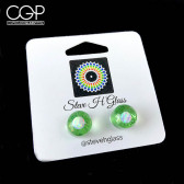 Steve H Glass Green Opal Encased Stud Earrings