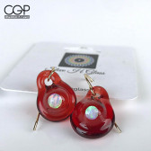 Steve H Glass Red Opal Encased Dangly Earrings